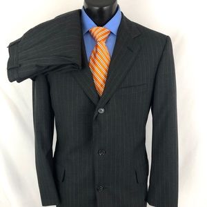 Brook Brothers Brooksease Suit Pinstripe Gray 41L